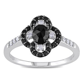 Miadora 10k White Gold 3/4ct TDW Black and White Diamond Flower Ring