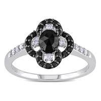 Miadora 10k White Gold 3/4ct TDW Black and White Diamond Flower Ring