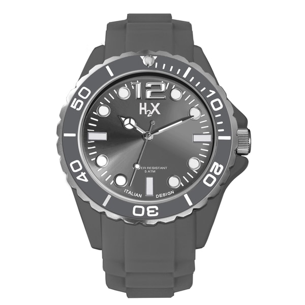 H2X Men's Reef Collection Grey Soft Rubber Watch