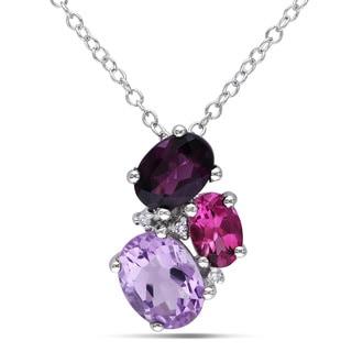 Miadora Sterling Silver 2 2/5ct TGW Amethyst, Rhodolite, Pink Tourmaline and Diamond Accent Necklace