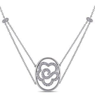 Miadora Sterling Silver White Topaz Flower Necklace