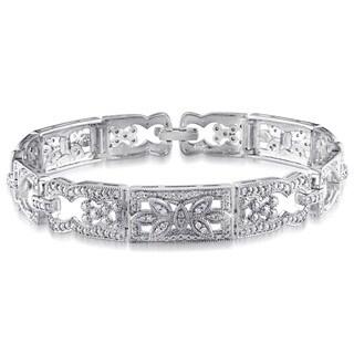 Miadora Sterling Silver 1/2ct TDW Diamond Vintage-style Link Bracelet