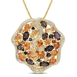 Miadora Signature Collection Signature 14k Gold Citrine/ Smokey Quartz/ 1/2ct TDW Diamond Necklace