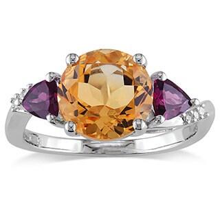 Miadora Sterling Silver Citrine, Rhodolite and Diamond Accent 3-Stone Ring