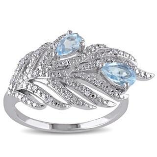 Miadora Silver Blue Topaz and 1/10ct TDW Diamond Leaf Ring (H-I, I2-I3)