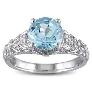 Miadora Sterling Silver 2 1/3ct TGW Blue Topaz and Diamond Accent Cocktail Ring