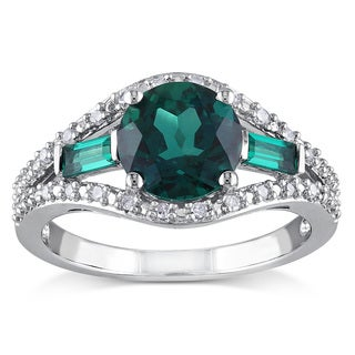 Miadora Sterling Silver Created Emerald and 1/10ct TDW Diamond Ring 3-stone Ring (H-I, I2-I3)
