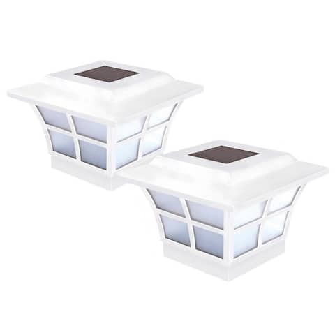 Classy Caps 4 x 4 White Prestige Solar Post Cap (2-Pack)