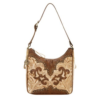 American West Brown/ Tan Leather Concealed Carry Handbag