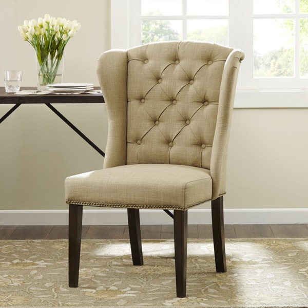 Margo linen fabric tufted wing back dining chair free for Wing back dining chairs