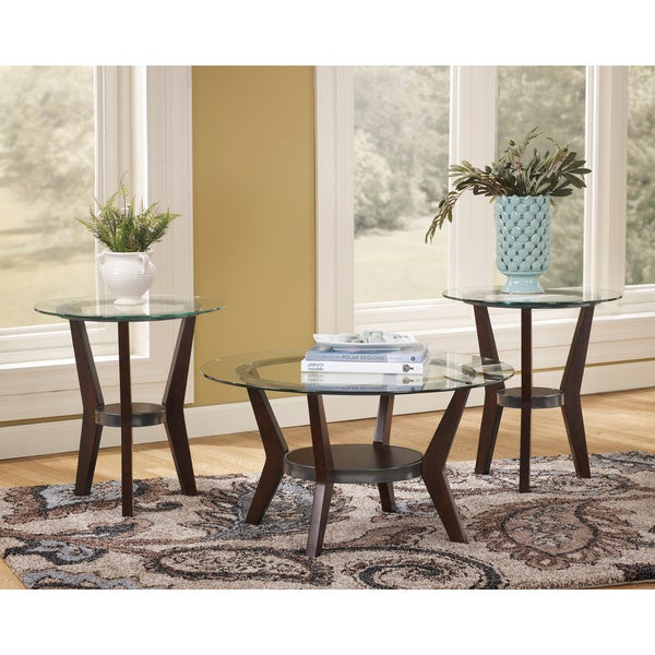Bon Signature Design By Ashley Fantell Dark Brown 3 Piece Occasional Table Set