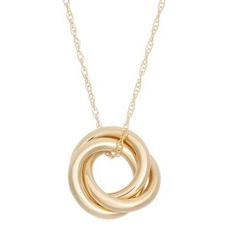 Gioelli 14k Yellow Gold High Polished Interlocking Circles Pendant Necklace