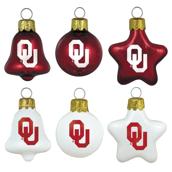 Oklahoma Sooners Mini Blown Glass Ornament Set
