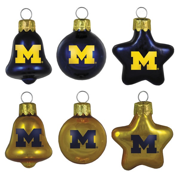 Michigan Wolverines Mini Blown Glass Ornament Set
