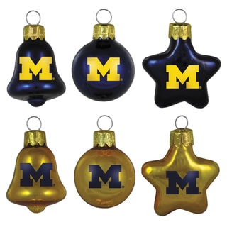 Michigan Wolverines Mini Blown Glass Ornament Set