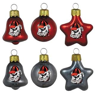 Georgia Bulldogs Mini Blown Glass Ornament Set