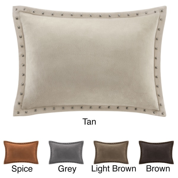 Madison Park Stud Trim Suede Feather Down Filled Oblong Throw Pillow - Free Shipping On Orders ...