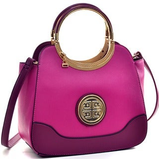 Dasein Hinged Handle Satchel with Removable Shoulder Strap (Option: Gold)