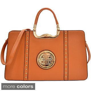 Dasein Faux Buffalo Leather Expandable Hinge Handle Shoulder Bag with Removable Strap