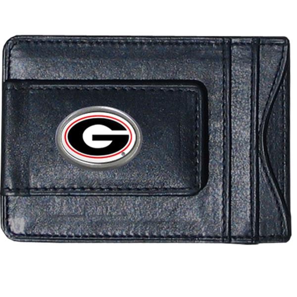 NCAA Georgia Bulldogs Leather Money Clip and Cardholder