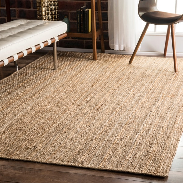nuloom alexa eco natural fiber braided reversible jute rug (8' x