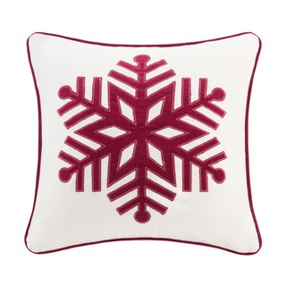 Pine Canopy Ashley 20-inch Snowflake Throw Pillow (Option: Ivory/Red)