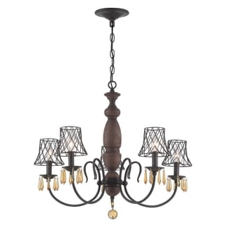 Varaluz Madelyn Forged Iron and Amber Crystal 5-light Chandelier