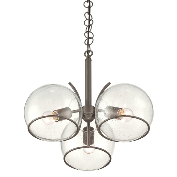 Varaluz Watson Clear Seedy Glass and Metal 3-light Chandelier