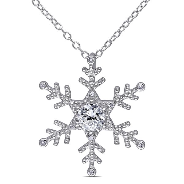 Miadora Sterling Silver Created White Sapphire and Diamond Snowflake Necklace