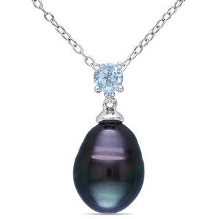 Miadora Silver Tahitian Pearl, Blue Topaz and Diamond Accent Necklace (9-10 mm)