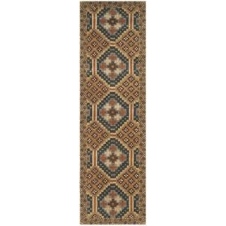 Isaac Mizrahi by Safavieh Handmade Foulard Camel/ Multi Wool Rug (2'3 x 8')