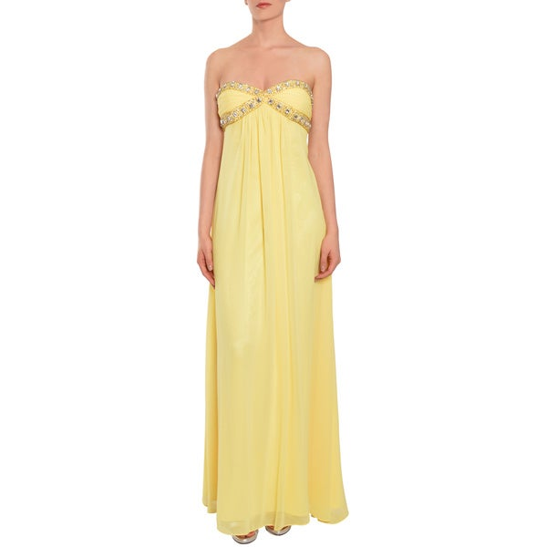 Shop Mary L Couture Womens Yellow Beaded Evening Prom Dress