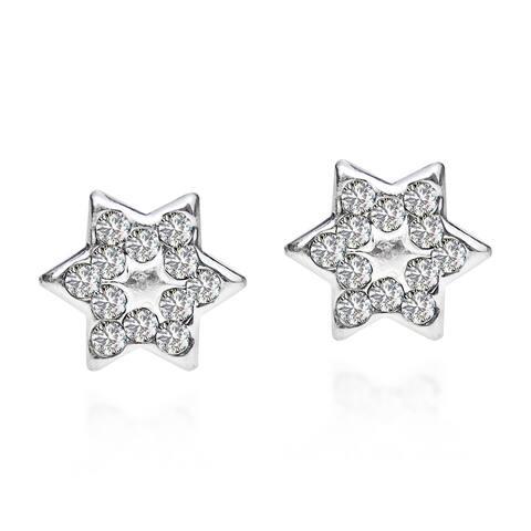 Handmade .925 Sterling Silver Petite Star of David White Cubic Zirconia Stud Earrings (Thailand)