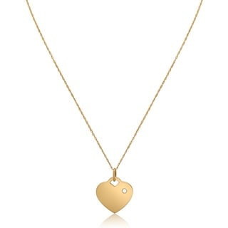 Gioelli 14k Yellow Gold Freshwater Pearl Heart Tag Birthstone Pendant Necklace (2 mm)