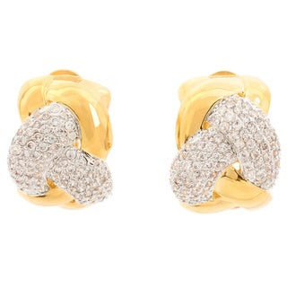 Two-tone Goldplated Cubic Zirconia Overlapping Knot Style Clip Earrings