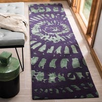 "Safavieh Handmade Capri Modern Abstract Lavender/ Sage Wool Runner Rug - 2'3"" x 9'"