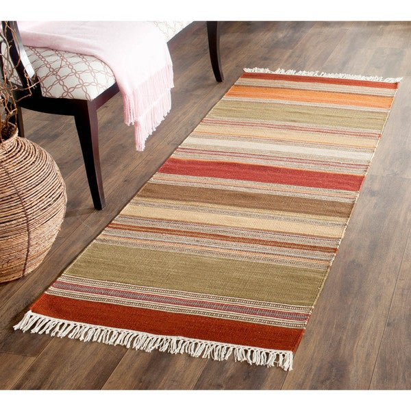Safavieh Hand Woven Striped Kilim Green Wool Rug 2 3 X 6