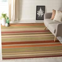 Safavieh Hand-Woven Striped Kilim Green Wool Rug - 7' x 7' Square