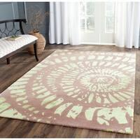 Safavieh Handmade Capri Modern Abstract Lavender/ Sage Wool Rug - 7' Round
