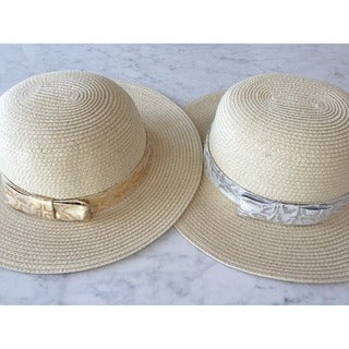 Women's Natural Metallic Ribbon Straw Hat (China)