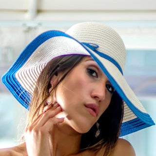 Women's White/ Blue Straw Hat (China)