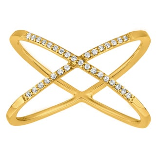 Sterling Silver Diamond 'X' Ring (More options available)