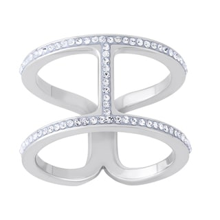 Austrian Crystal Element Brass Silverplated High Fashion Ring