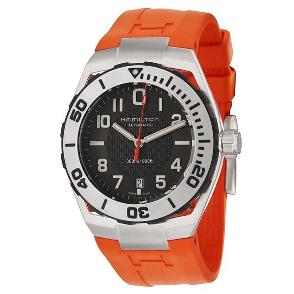hamilton men s h78615985 khaki navy sub orange watch hamilton men s h78615985 khaki navy sub orange watch