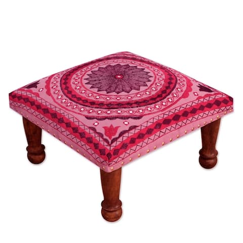 Handmade Ruby Mandala Sheesham Wood with Multicolor Embroidery Red Pink Square Upholstered Foot Stool Ottoman (India)