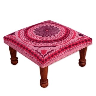 Ruby Mandala Sheesham Wood with Multicolor Embroidery in Shades of Red Pink Square Upholstered Foot Stool Ottoman (India)