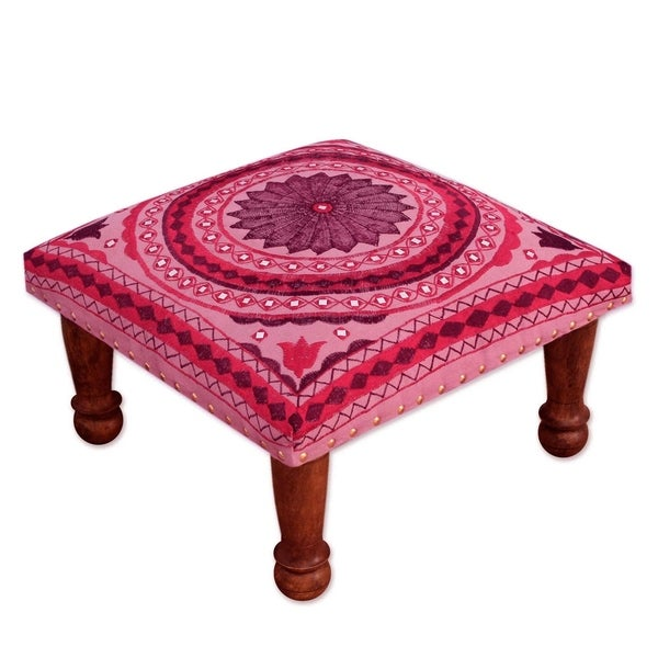 Ruby Mandala Sheesham Wood with Multicolor Embroidery in Shades of Red Pink Square Upholstered Foot Stool Ottoman