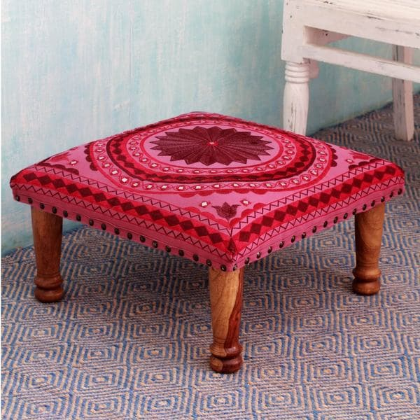 Ruby Mandala Sheesham Wood With Multicolor Embroidery In