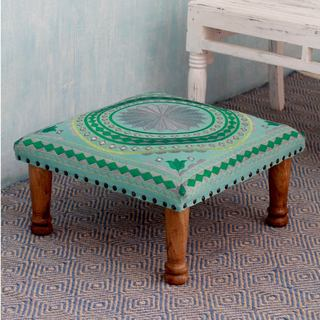 Handmade Seesham Wood Cotton Rayon 'Silver Mandala' Foot Stool (India)