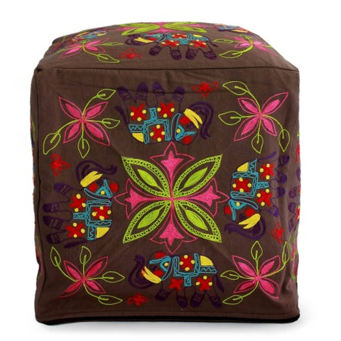 Handmade Cotton Rayon 'Elephant Blooms' Ottoman Pouf Cover (India) - N/A